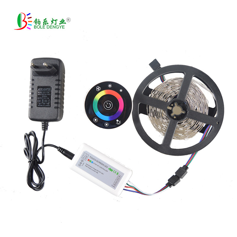 LED Strip Light 5050 5M 10M RGB LED strip Light Leds tape diode led ribbon led Dimmer Touch Screen Round Remote dc 12V Adapter 10m 5m 3528 5050 rgb led strip light non waterproof led light 10m flexible rgb diode led tape set remote control power adapter
