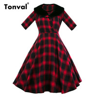 Tonval Women Turn Down Collar Plaid Dress Half Sleeve Autumn Winter Rockabilly Vestido De Festa Classical