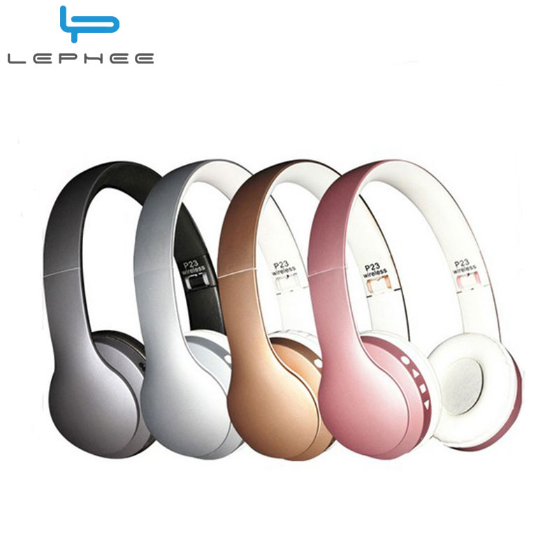 LEPHEE P23 Bluetooth Headphones Wireless Stereo Headset Support FM Radio+TF Card+3.5mm+Microphone MP3 Music Headphone For Xiaomi 2017 new high end wireless bluetooth headphone stereo headset for iphone samsung xiaomi fm radio tf card mic aux mp3 lcd display