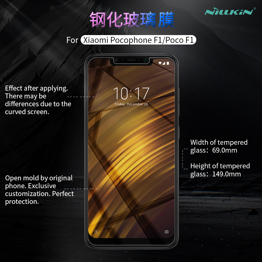 Image 2 - Pocophone F1 Tempered Glass Nillkin Amazing H 0.33MM Screen Protector for Xiaomi POCO Pocophone F1 Glass-in Phone Screen Protectors from Cellphones & Telecommunications on