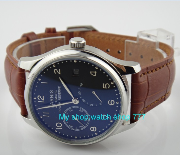 43 mm PARNIS black dial ST2530 Automatic Self-Wind movement men's watch  power reserve Casual watch wholesale rnm1 parnis 47mm power reserve seagull movement black dial men automatic pilot watch pa4711sbw