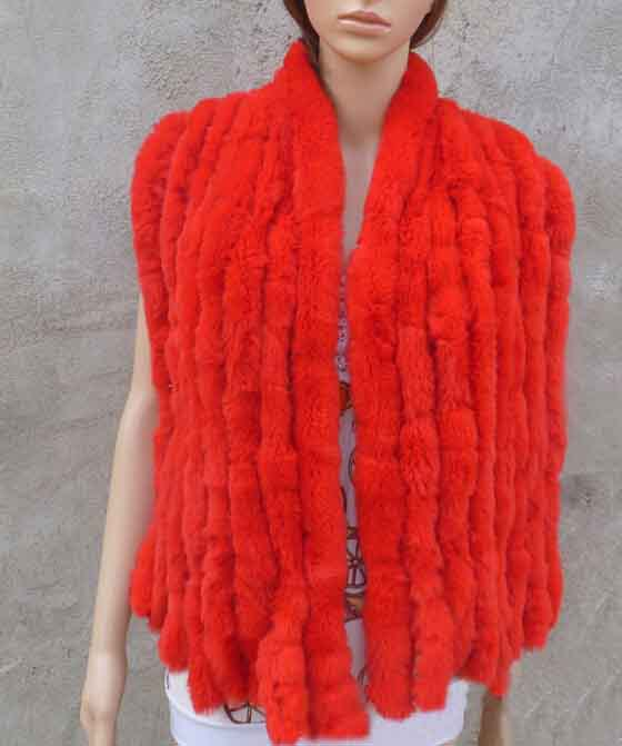 Настоящий вязаный шарф из меха кролика рекс женский зимний теплый натуральный мех шаль FP574 - Цвет: Red