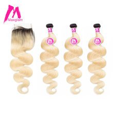 Maxglam Body Wave Brazilian 3 Hair Weave Bundles With Closure Ombre 1b/613 Remy Human Hair Bundles With Closure Free Shipping(China)