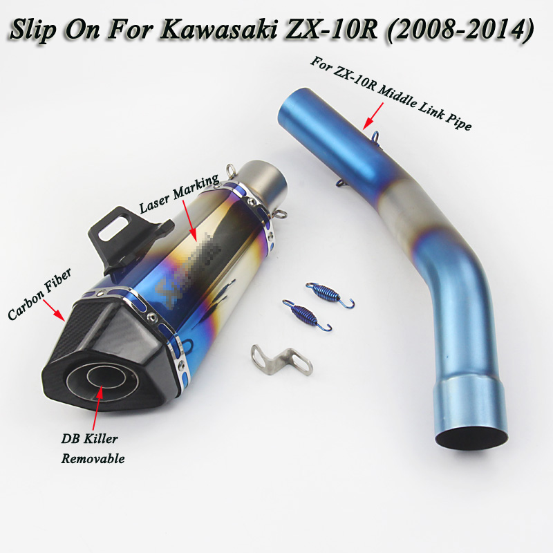 Universal Motorcycle Exhaust Escape Scooter With Middle Link Pipe Carbon Fiber Slip On KAWASAKI ZX-10R(2008-2014)