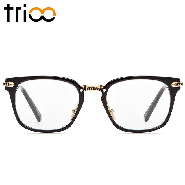 TRIOO Noir Carré Lunettes Cadre Hommes Lentille Claire Monture de lunettes  De Mode Designer Lunettes Homme 218fd3997ef0
