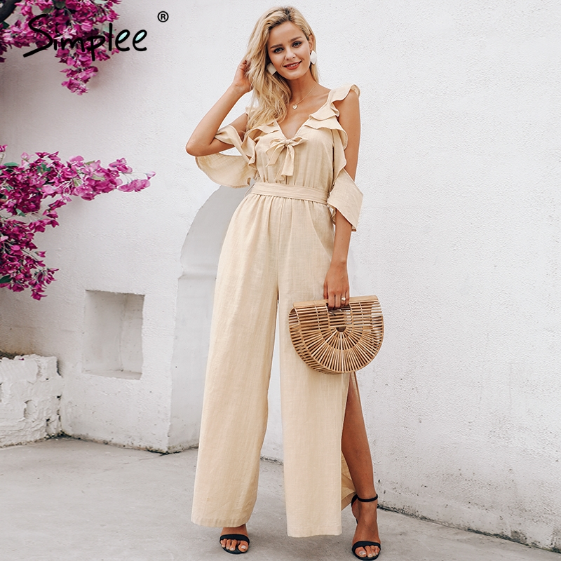 Simplee Sexy v-neck women   jumpsuit   Elegant cold shoulder ruffles   jumpsuit   romper High split ladies   jumpsuit   long overalls 2019