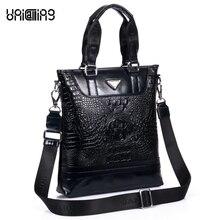 Premium brand quality fashion Alligator pattern vertical men genuine leather handbag Top layer cowhide leather men shoulder bag