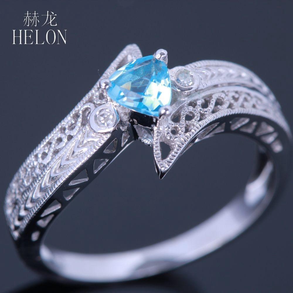 HELON Sterling Silver 925 Vintage Art Deco Trillion Cut 4.5mm Blue Topaz Natural Diamonds Ring Engagement Wedding Gemstone Ring цена в Москве и Питере
