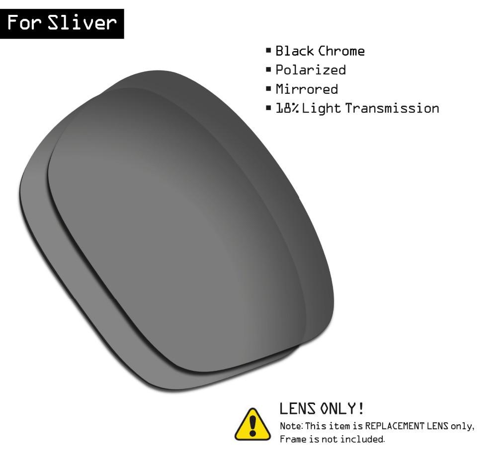 SmartVLT Polarized Sunglasses Replacement Lenses For Oakley Sliver - Black Chrome