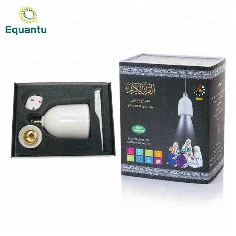 Equantu musulman cadeau coran haut-parleur lecteur MP3 E27 lampe à LED haut-parleur avec traduction Bangla