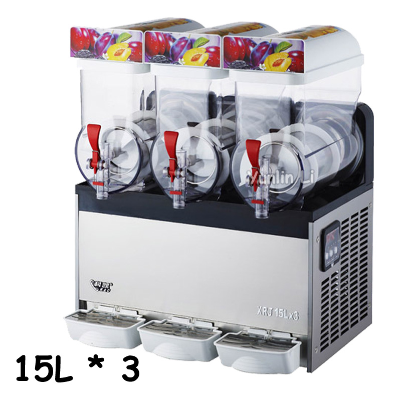 Commercial Slush Machine with 3 Tanks Beverage Ice Frozen Juicer Popular Sand Ice Maker XRJ15X3