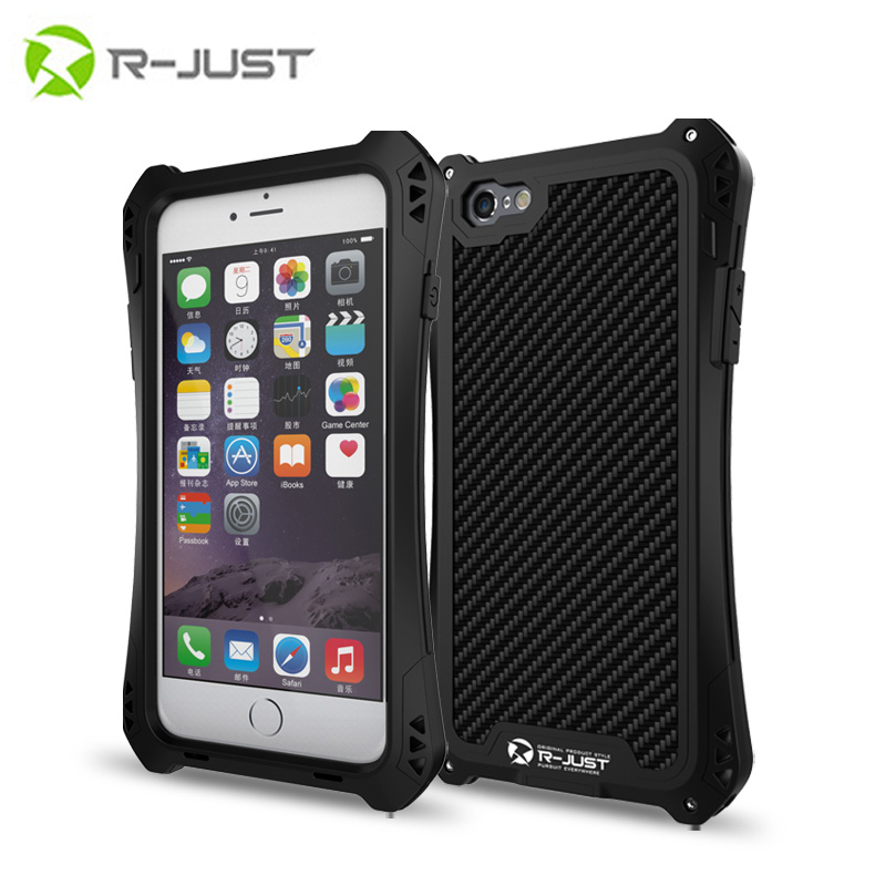 R-JUST AMIRA Tempered Glass Aluminum Carbon Firber Shockproof Waterproof Case Cover for IPhone6 6S/6 6S Plus case