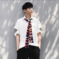 2018 New Summer men's personality hollow sleeve type pure color small shirt tide male Color scarf decorative shirts singer Tops