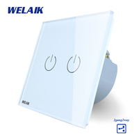 WELAIK Crystal Glass Panel Switch White Wall Switch EU Touch Switch Screen Wall Light Switch 2gang2way