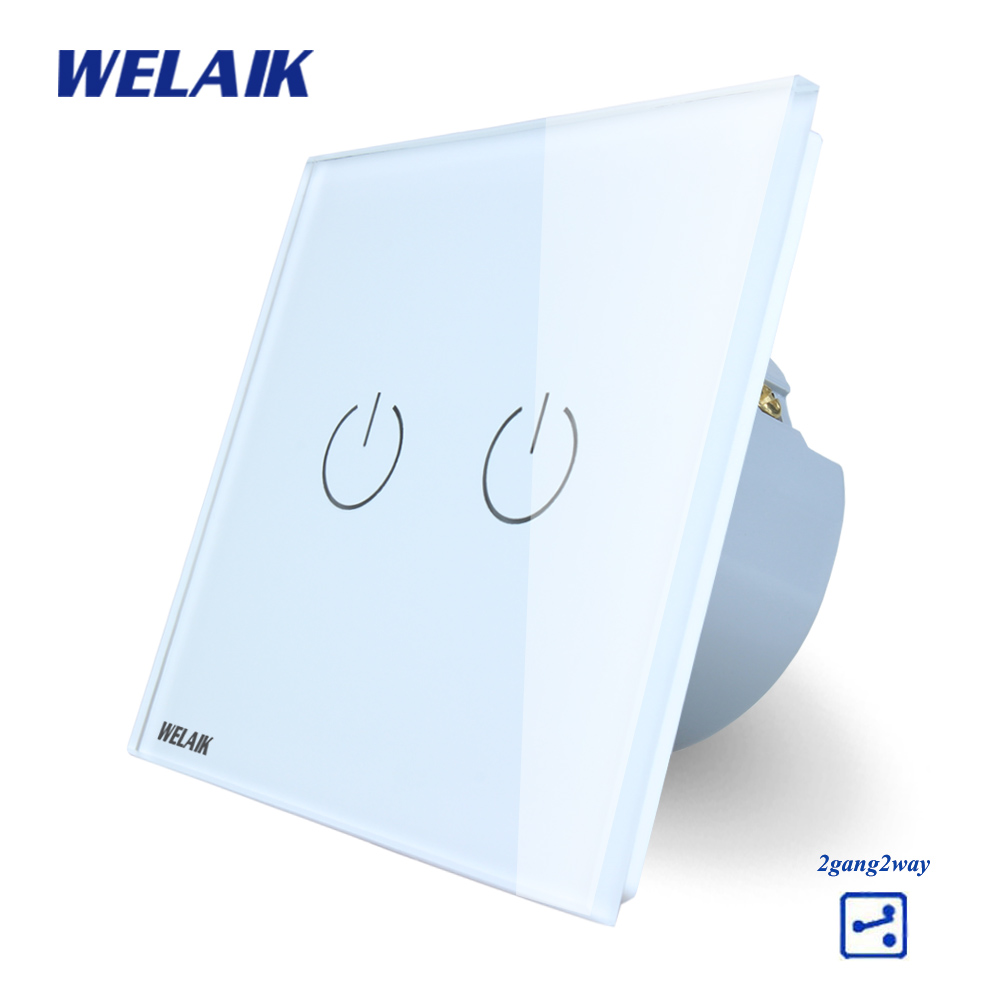 WELAIK Crystal Glass Panel Switch White Wall Switch EU Touch Switch Screen Wall Light Switch 2gang2way AC110~250V A1922W/B smart home us au wall touch switch white crystal glass panel 1 gang 1 way power light wall touch switch used for led waterproof