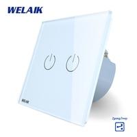 WELAIK Crystal Glass Panel Switch White Wall Switch EU Touch Switch Screen Wall Light Switch 2gang2way