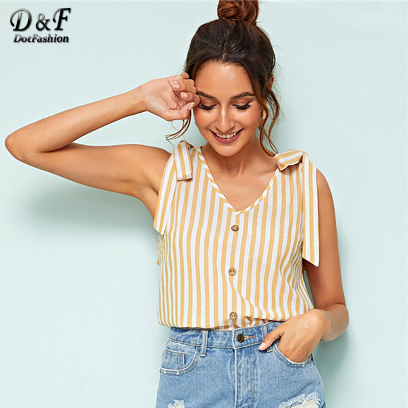 Dotfashion Yellow Knot Shoulder Button Front Striped Tank Top 2019 Summer Casual Tops For Women Clothing Female V Neck Vest