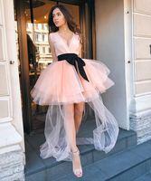 Коктейльные платья Плюс Размеры Розовый Короткое вечернее платье для выпускного вечера 2019