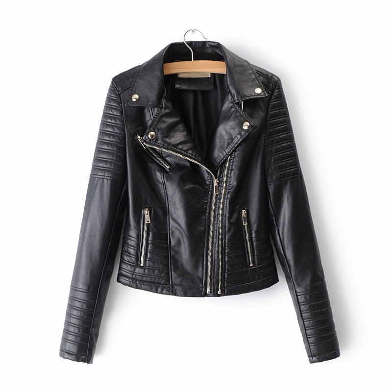 Double zip Black Leather Jacket Women Faux Leather Coats chaqueta Blazer Jack leren jas blouson Suit cuir femme chaqueta mujer