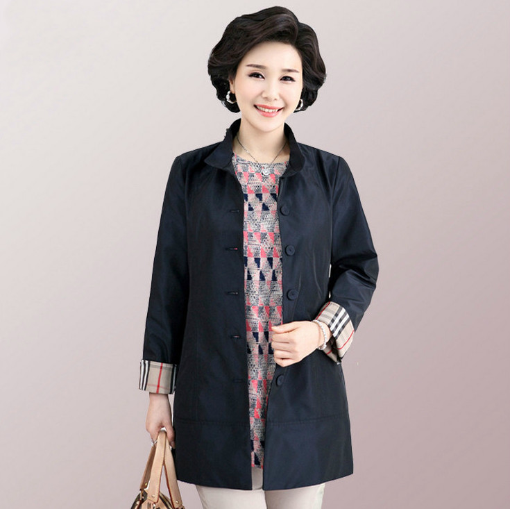 Windbreaker Coat 2018 Spring Middle Age Big Size OL Women Stand Collar Long Sleeve Plaid Thin
