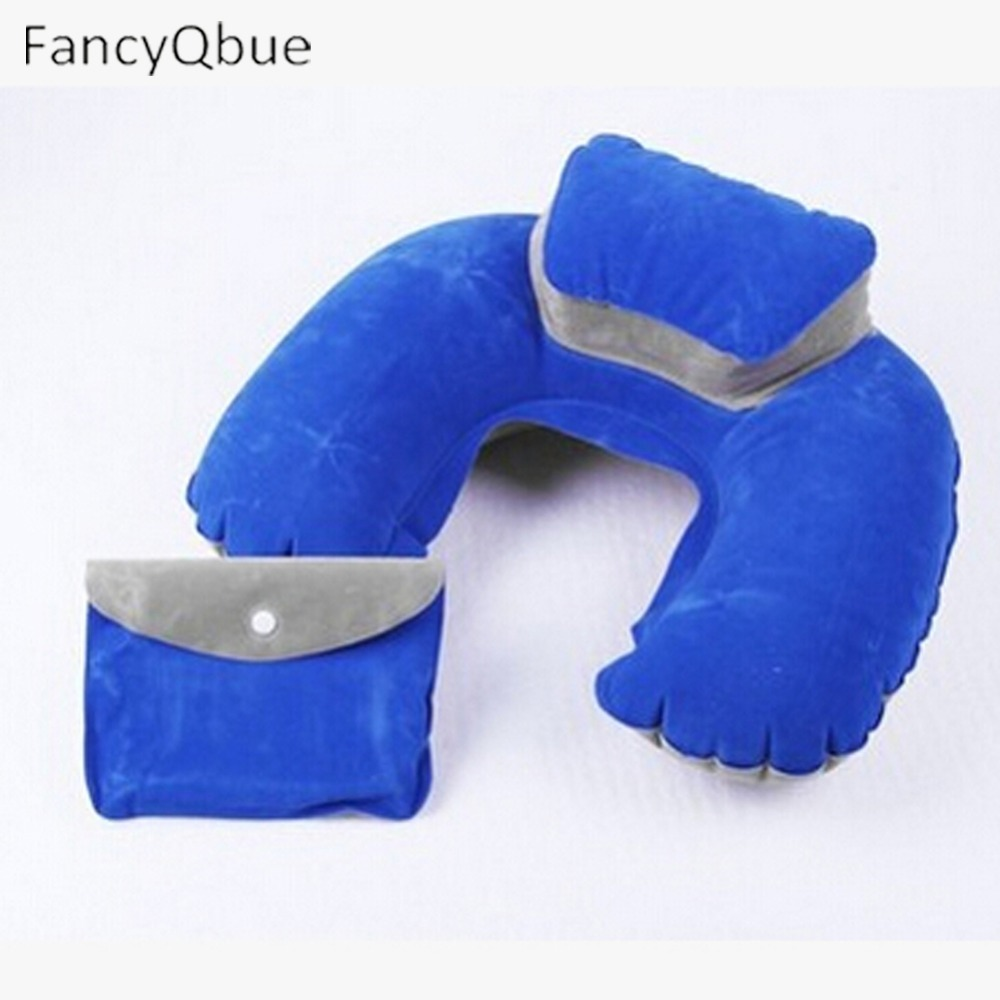 Color Random Air Pillow U-Shape Pillows Inflatable U Shape Neck Blow Up Cushion PVC Flocking Fabric Pillow Foldable 0600