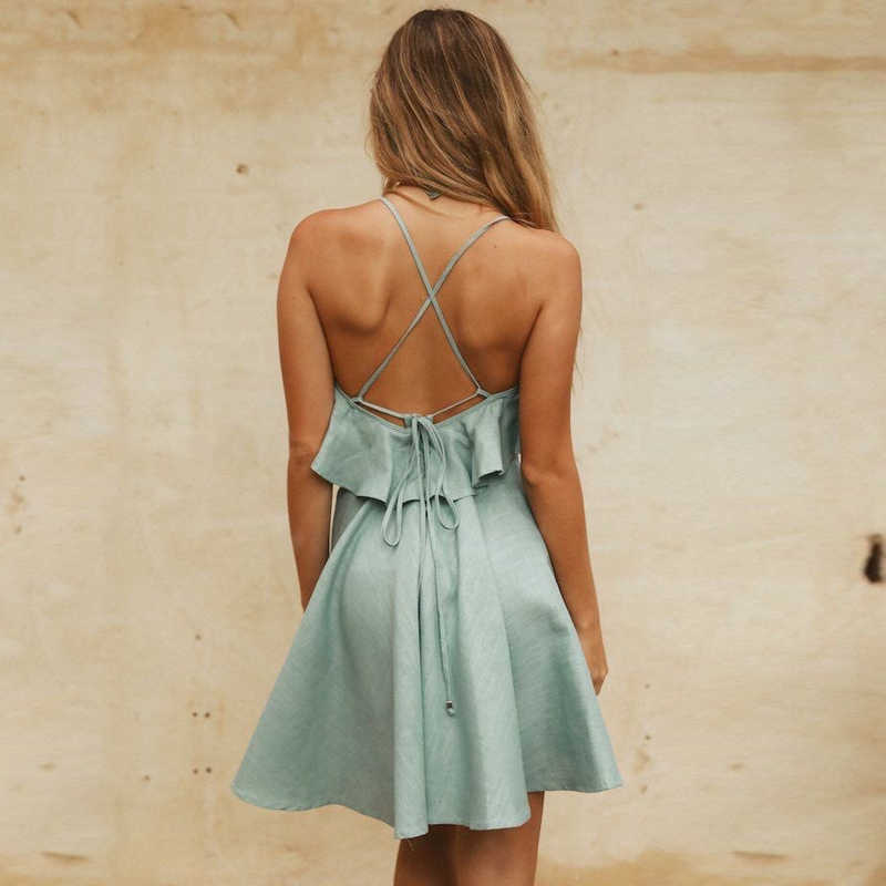 Женские сексуальные шифоновые платья без рукавов женские 2019 летние однотонные повседневные Элегантные модные платья женские кружевные мини-платья с оборками