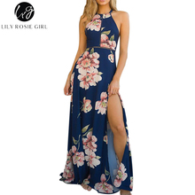 Lily Rosie Girl Off Shoulder Boho Floral Print Dress Women Summer Beach Sexy Backless Bow Maxi Long Split Dresses Vestidos