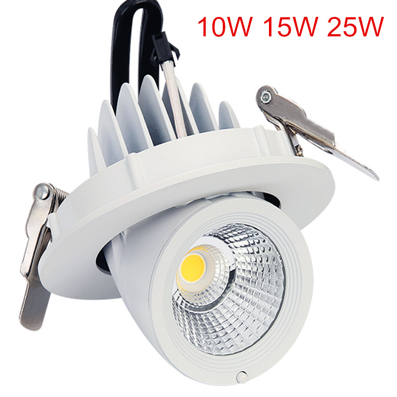 Ultra Bright 10W 15W 25W COB LED Downlight 360 Degree Rotation Warm / Natural / Cold White Recessed LED Ceiling Panel light
