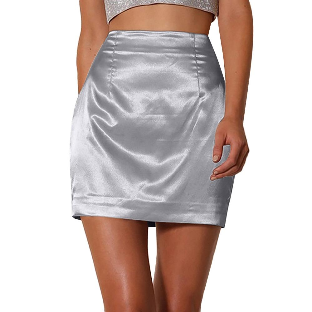 Women Ladies Fashion Solid Sexy <font><b>Satin</b></font> Smooth Zipper silk a line <font><b>mini</b></font> <font><b>Skirt</b></font> jupe femme summer 2019 white red image