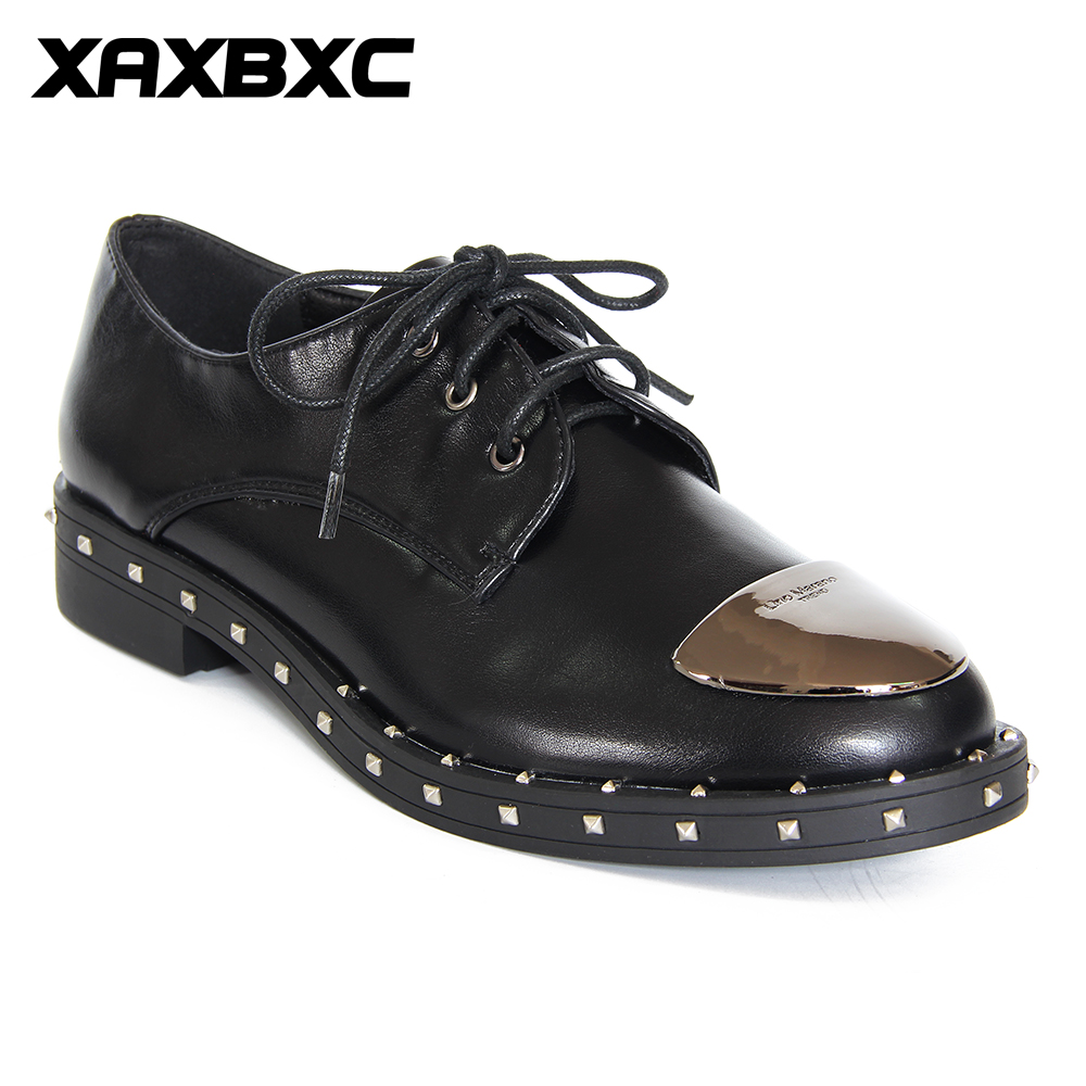 XAXBXC 2018 Spring Retro Brogues Oxford Genuine Leather Rivet Metal Toe Low Heel Lace Up Women Shoes Handmade Casual Lady Shoes keddo womens lace up brogues