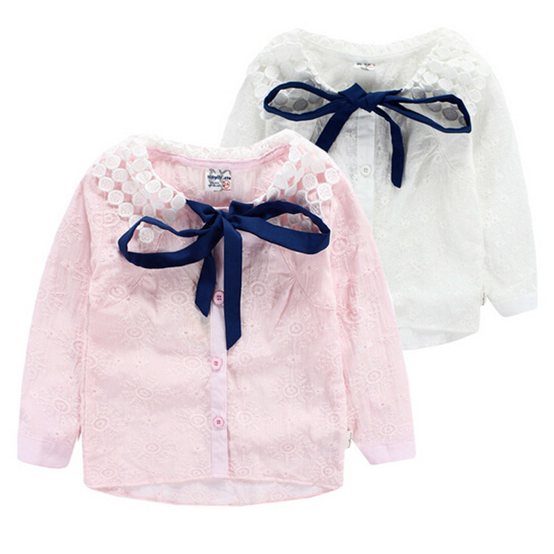 New Fashion Girls Blouses Children Clothes Girls Long Sleeve Blouses Lace Lapel Bow Two Colors Girls School Blouses Girls Tops