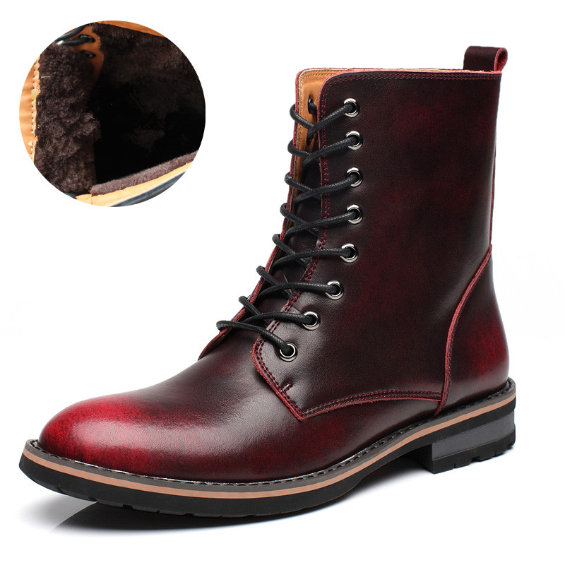 Men Warm Snow Boots Winter Shoes With Fur Leather Waterproof Ankle Boots Men British Style Lace-Up Outdoor Leisure Boots Men serene men oxfords shoes british style lace up shoes waterproof low ankle boots leisure men flat shoes comfortable flats 6215