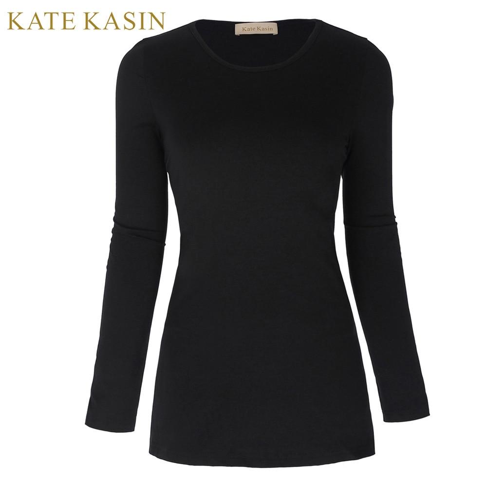 Kate Kasin Women Slim Spring T Shirts Top Femme Design Sides Split Long Sleeve Tee Shirt Tops Ladies Daily Office Long Tunic Top