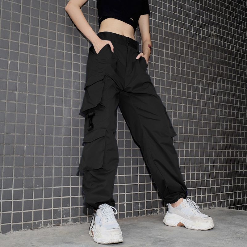 High Waist   Pants   Camouflage Loose Joggers Army Harem Camo   Pants   Women Streetwear Punk Black Cargo   Pants     Capris   Trousers L210
