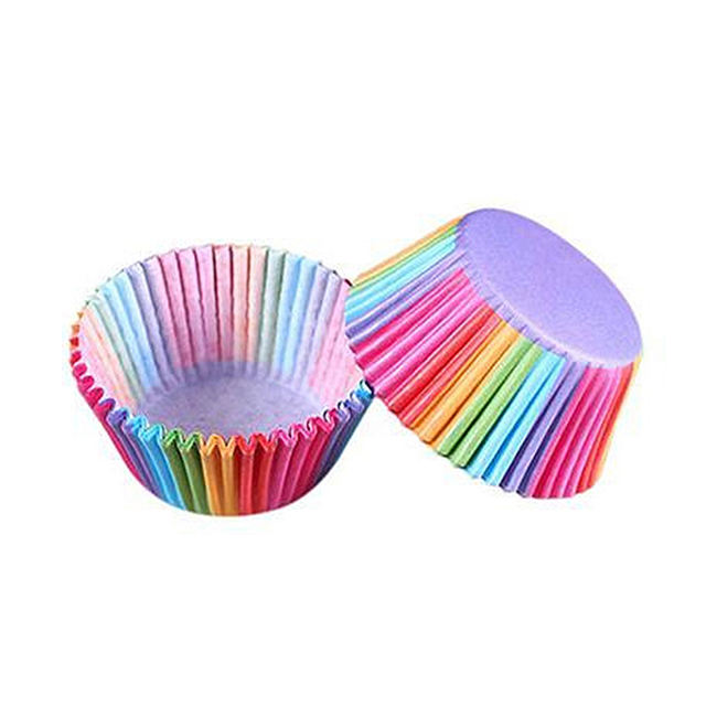 Rainbow Colored Paper Cup for Baking Set 100 Pcs
