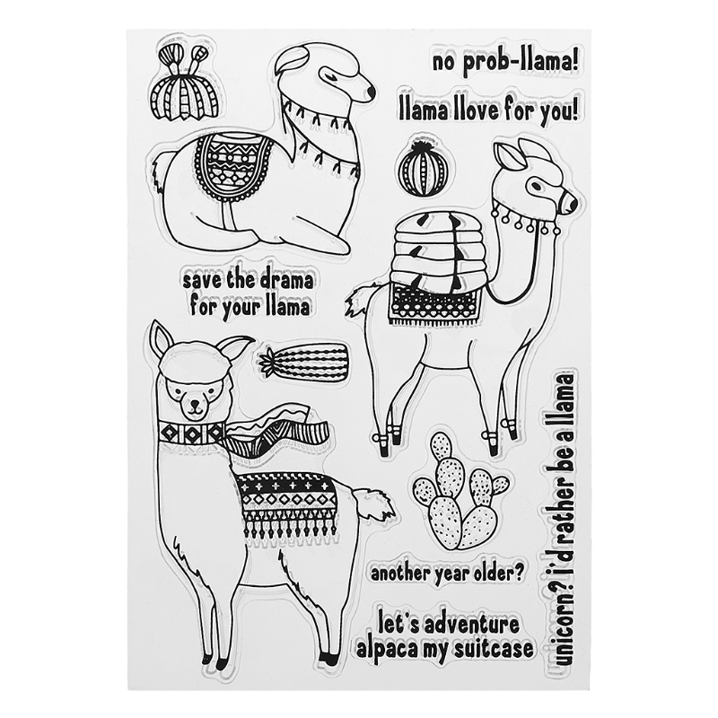 Cute Alpaca DIY Silicone Clear Stamp Cling Seal Scrapbook Embossing Album Decor