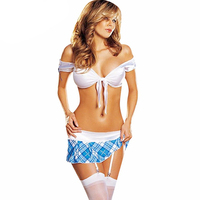 Wholesale Sexy School Girl Costume White Crop Top Skirt 2 PCS Sexy High School Girl Adult