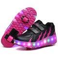 Nova criança esporte casual shoes meninos das meninas da forma conduziu a luz roller skate shoes para crianças adultos crianças sapatilhas com dois rodas
