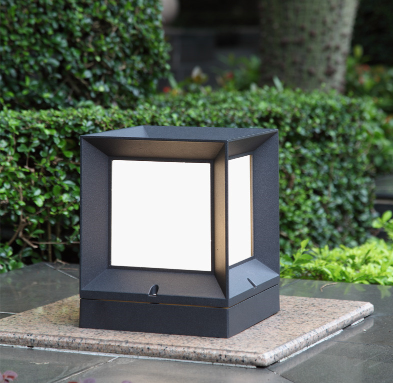 outdoor modern block wall column light for villa/garden/courtyard IP54 waterproof led outdoor wall pillar lamp cube lawn light outdoor small column courtyard wall lamp post villa exterior wall lamp lu8141400
