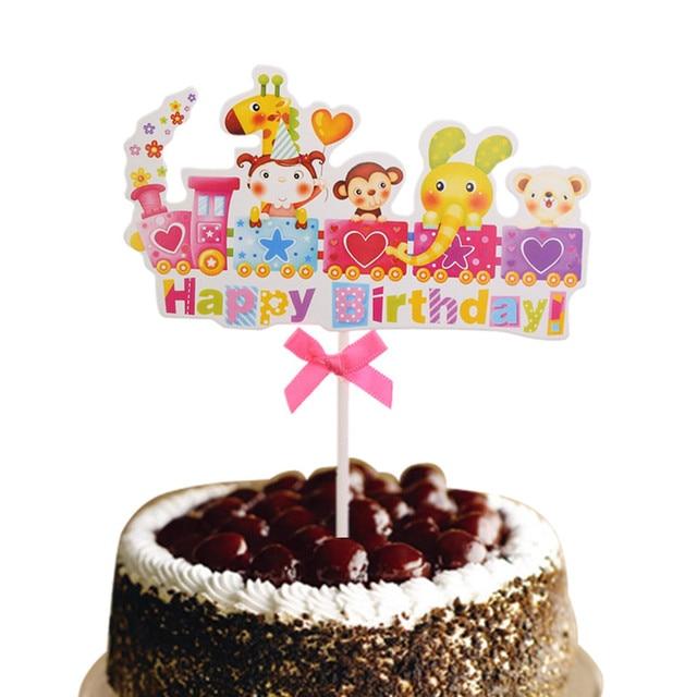 10 Teile Los Happy Birthday Zug Mit Bowtie Cartoon Tiere Regenbogen