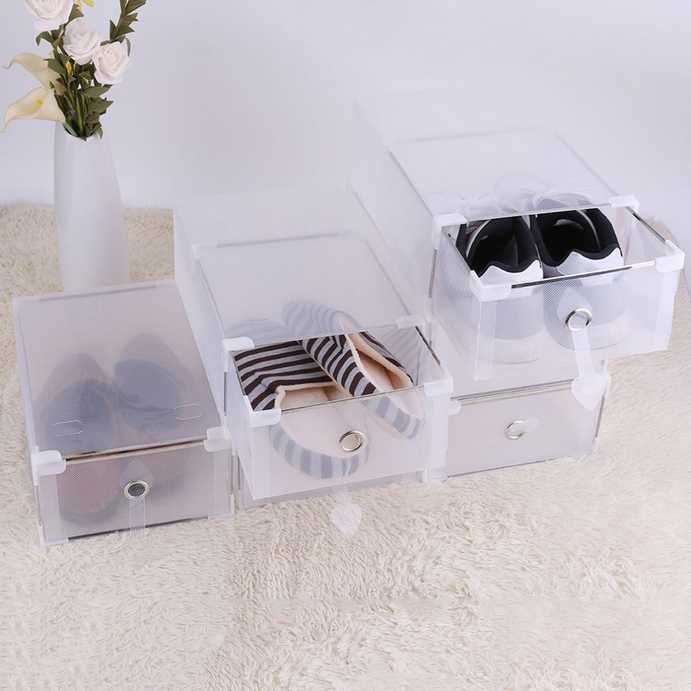 5PCS Transparent Shoe Storage Box Case Plastic PP Storage Box Shoe Organize Drawer Shoe BoxesHot