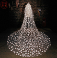 Cheap Ivory Veils Wedding Accesories 2016 Long Flower Appliques Bridal Veils Cathedral Veil With Crystals Veu De Noiva longo
