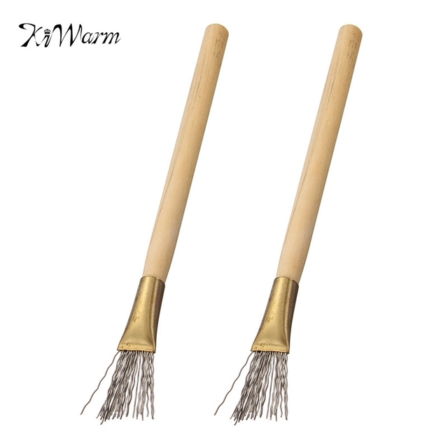 Kiwarm 2Pcs Wooden Handle Thick/Thin Iron Wire Brush Clay Tool for ...