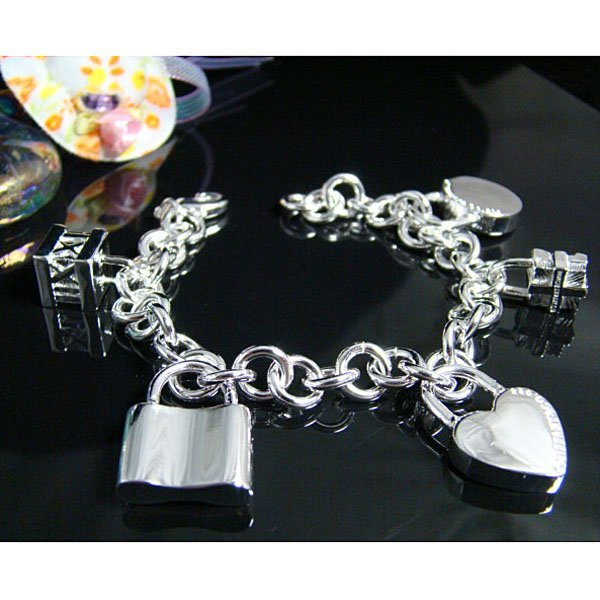 Wholesale silver plated Bracelet, silver plated jewelry Bracelet / silver plated Bracelet with pendant free shipping LKB100