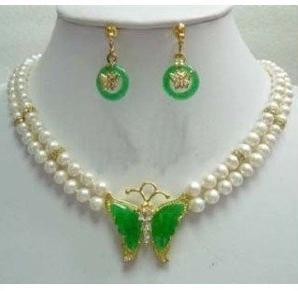 Perle d'eau douce naturelle blanche Jades papillon pendentif collier boucles d'oreilles ensemble de bijoux, mode femmes cadeau pour anniversaire de mariage