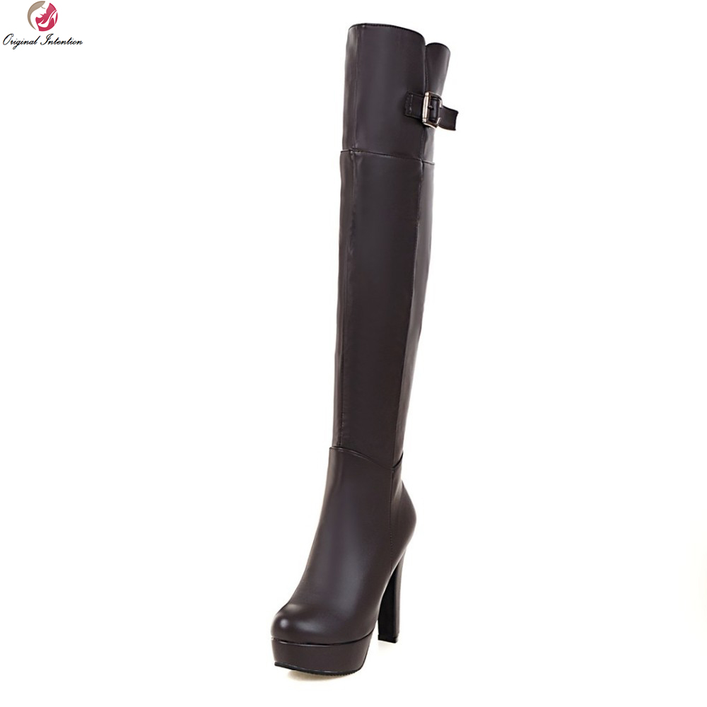 Original Intention Sexy Women Over the Knee Boots Nice Round Toe Square Heels Boots Black Brown Shoes Woman US Size 3.5-10.5 цена