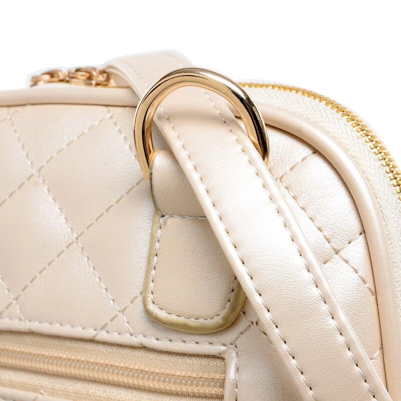 Bokinslon haute qualité femmes sac à dos Pu cuir mode sacs à dos pour adolescentes pastille treillis décontracté voyage sac d'école - 6