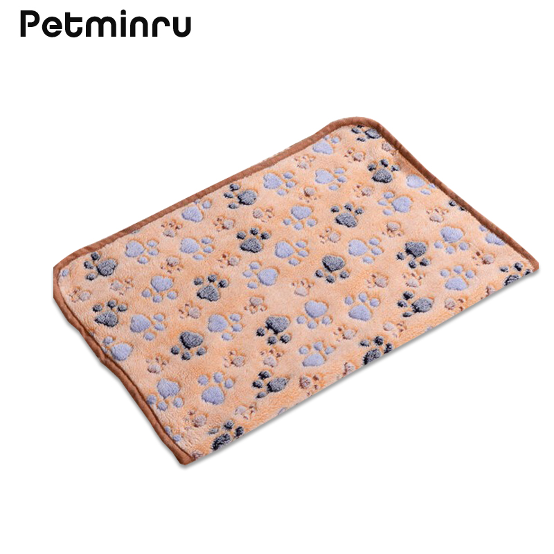 Petminru 40 x 60cm Cute Floral Pet Sleep Warm Paw Print Dog Cat Mat Puppy Fleece Soft Blanket Beds Pet Mats Sofas