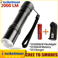 CREE XML T6 2000LM led flashlight Aluminum Zoomable cree T6 Torch lamplight with 1x18650 battery and Charger