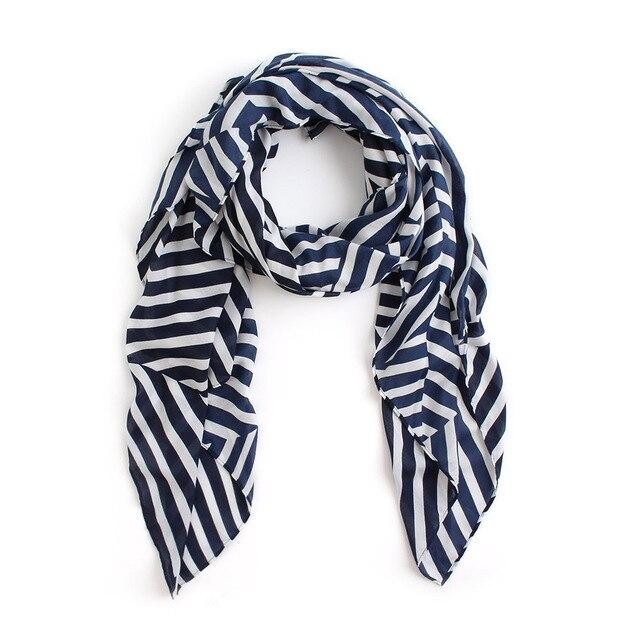 82d99f368e4 US $6.71 44% OFF|BQacces 140*140cm women 100% cotton square scarf geometric  navy stripe print designer silk scarves high quality lady hijab large-in ...